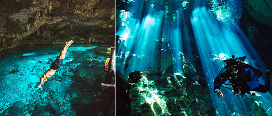 diving or snorkelling in cenotes in mexico